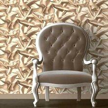 Muriva Wand Tapete Stuhl Kaffeebraun Creme Seide