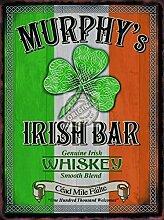 Murphys Irisch verbindung / pub Schild. Irisch Flagge und klee und Keltische. whisky whisky Getränk, Bar. Für haus, heim, Verbindung oder kneipe Metall/Stahl Wandschild - 30 x 40 cm