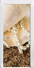 Muschel mit Perle Sand Strand Sommer als Türtapete, Format: 200x90cm, Türbild, Türaufkleber, Tür Deko, Türsticker