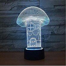 Mushroom House 3D Lampe 7 Farbe LED Nachtlampen