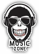 Music Zone Monkey DJ - Self-Adhesive Sticker Car