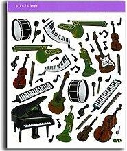 Musik-Aufkleber, Tastatur und Instrumente