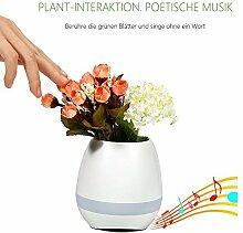 Musik Blumentopf Mini Bluethooth Lautsprecher Nachlicht kreative Blumentöpfe, Klavier spielen auf einem echten Pflanze Festival Geschenk Blumentopf Nachtlicht Smart Touch Musik Pflanze Lampe wiederaufladbare von Colleer (Weiß)