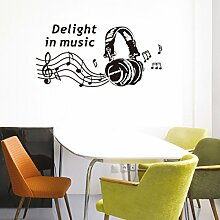 Musik Headset Wandtattoo House Aufkleber abnehmbarer Wohnzimmer Tapete Schlafzimmer Küche Art Bild Wandmalereien Sticks PVC Fenster Tür Dekoration + 3D Frosch Auto Aufkleber Geschenk