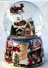 Musik-Schneekugel mit Lebkuchenhaus in einem