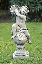 Musikant mit Tamburin auf Kugel, Steinfigur, Gartenfigur Farbe weissgrau