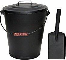 MUSTANG Ascheeimer 20 Liter mit Deckel,Tragebügel und Ascheschaufel