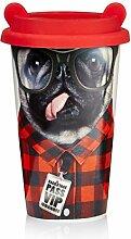 MUSTARD - Coffee Dog Cup I Kaffee-to-Go Becher mit Silikon-Deckel I Keramik I isolierter Kaffeebecher für unterwegs I Hitzebeständig I doppelte Thermo-Beschichtung I Geschenkidee für Studenten - Hund