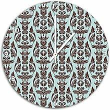 Muster Französische Blumen Türkis, Wanduhr