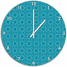 Muster Geometrisch Türkis, Wanduhr Durchmesser