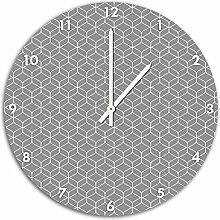 Muster Geometrische Muster, Wanduhr Durchmesser 48cm mit weißen spitzen Zeigern und Ziffernblatt, Dekoartikel, Designuhr, Aluverbund sehr schön für Wohnzimmer, Kinderzimmer, Arbeitszimmer