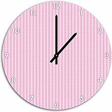 Muster Symbolketten Rosa, Wanduhr Durchmesser 48cm mit schwarzen spitzen Zeigern und Ziffernblatt, Dekoartikel, Designuhr, Aluverbund sehr schön für Wohnzimmer, Kinderzimmer, Arbeitszimmer