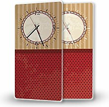 Muster Tapete - Moderne Wanduhr mit Fotodruck auf Polycarbonat | Fotouhr Bilderuhr Motivuhr Küchenuhr modern hochwertig Quarz | Variante:30 cm x 60 cm mit weißen Zeigern