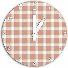 Muster Tischdecken Rosa, Wanduhr Durchmesser 30cm mit weißen eckigen Zeigern und Ziffernblatt, Dekoartikel, Designuhr, Aluverbund sehr schön für Wohnzimmer, Kinderzimmer, Arbeitszimmer