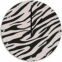 Muster Zebra Rosa, Wanduhr Durchmesser 48cm mit schwarzen spitzen Zeigern und Ziffernblatt, Dekoartikel, Designuhr, Aluverbund sehr schön für Wohnzimmer, Kinderzimmer, Arbeitszimmer
