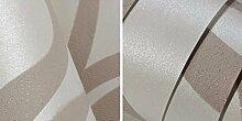 Mustertapete ideal für Schlafzimmer, Wohnzimmer, Wohnzimmer, Küche etc.. Wellen weiß creme