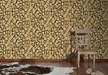 Mustertapeten - A.S. Création Holzoptik Tapete Faro 4 Gelb, Schwarz