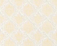Mustertapeten - Mustertapete Architects Paper Textiltapete Tessuto Sandgelb, Perlweiß, Signalweiß