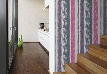 Mustertapeten - Mustertapete Schöner Wohnen Tapete Blaugrau, Fenstergrau, Erikaviolett, Signalweiß