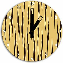 MusterTiger Gelb, Wanduhr Durchmesser 30cm mit schwarzen eckigen Zeigern und Ziffernblatt, Dekoartikel, Designuhr, Aluverbund sehr schön für Wohnzimmer, Kinderzimmer, Arbeitszimmer