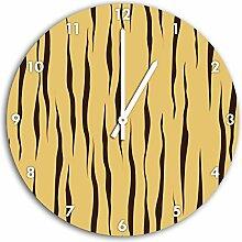MusterTiger Gelb, Wanduhr Durchmesser 30cm mit weißen spitzen Zeigern und Ziffernblatt, Dekoartikel, Designuhr, Aluverbund sehr schön für Wohnzimmer, Kinderzimmer, Arbeitszimmer