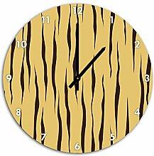 MusterTiger Gelb, Wanduhr Durchmesser 48cm mit schwarzen spitzen Zeigern und Ziffernblatt, Dekoartikel, Designuhr, Aluverbund sehr schön für Wohnzimmer, Kinderzimmer, Arbeitszimmer