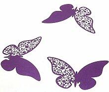 Musuntas 50 Stück 3D Schmetterlinge Weiß Tischkarten Platzkarten Namenskarten Hochzeit (lila)