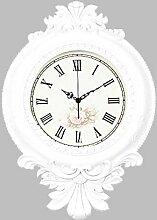 Mute Wanduhr Europäische Klassische Elegante Luxushauptdekoration 39 * 55cm,White