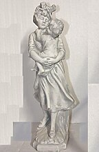 Mutter mit Kind, Frauenfigur mit Kinderfigur, Steinfigur Frau mit Kind, Figur aus Steinguss