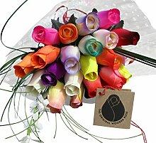 Muttertag Blumenstrauß Sortiert Farben Holz Rosen