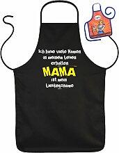 Muttertag Grill Schürze - Ich habe viele Namen MAMA ist mein Lieblingsname - mit kleiner Fun-Schürze