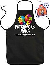 Muttertag Grill Schürze - PATCHWORK MAMA Gemeinsam sind wir Stark - mit kleiner Fun-Schürze