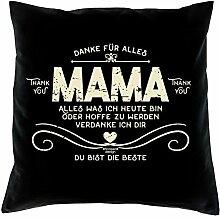Muttertag, Muttertagsgeschenk Danke Mama Dekokissen, Kopfkissen Geschenkidee für die liebste Mutter Größe 40X40 cm Farbe:schwarz