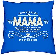 Muttertag, Muttertagsgeschenk Danke Mama Dekokissen, Kopfkissen Geschenkidee für die liebste Mutter Größe 40X40 cm Farbe:royal-blau