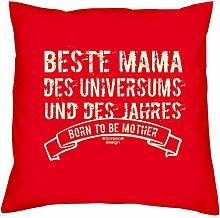 Muttertagsgeschenk Geburtstagsgeschenk Weihnachtsgeschenk Frauen Mutter :-: Beste Mama des Universums :-: Geschenkidee Sofakissen Kissen mit Füllung Farbe: ro