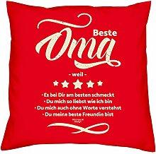 Muttertagsgeschenk Geburtstagsgeschenk Weihnachtsgeschenk Großmutter :-: Beste Oma weil :-: Geschenkidee Sofakissen Kissen mit Füllung Farbe: ro
