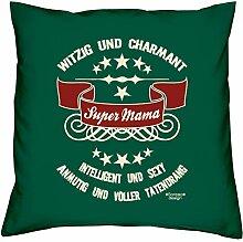 Muttertagsgeschenk Geschenkidee Geburtstagsgeschenk Frauen :-: Super Mama :-: Sofakissen Kissen mit Füllung auch als Weihnachtsgeschenk :-: Farbe:dunkelgrün