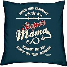 Muttertagsgeschenk Geschenkidee Geburtstagsgeschenk Frauen :-: Super Mama :-: Sofakissen Kissen mit Füllung auch als Weihnachtsgeschenk :-: Farbe:navy-blau