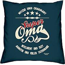 Muttertagsgeschenk Geschenkidee Großmutter Mama Oma Super Oma :-: Weihnachtsgeschenk :-: Kissen mit Füllung als Geburtstagsgeschenk Farbe:navy-blau