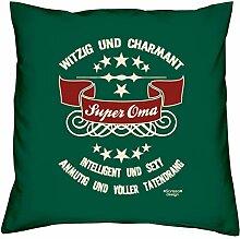 Muttertagsgeschenk Geschenkidee Großmutter Mama Oma Super Oma :-: Weihnachtsgeschenk :-: Kissen mit Füllung als Geburtstagsgeschenk Farbe:dunkelgrün