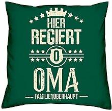Muttertagsgeschenk Oma Dekokissen Sofakissen und Urkunde :-: Hier regiert Oma Geschenkidee Geschenk für Frauen Farbe: dunkelgrün