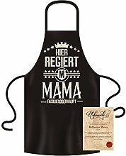 Muttertagsgeschenk Schürze Kochschürze Hier regiert Mama Geschenkidee Geschenk für Frauen Farbe: schwarz