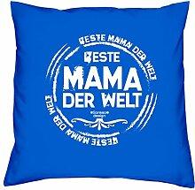 Muttetagsgeschenk Geschenkidee Muttertag :-: Beste Mama der Welt :-: Kissen mit Füllung :-: auch als Geburtstagsgeschenk für Sie Mutter Mama :-: Farbe: royal-blau