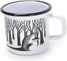 Muurla - Mumin -Becher, Tasse, Kaffeetasse, Kinderbecher - Emaille - Groke - schwarz - weiß - 370 ml