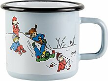 Muurla Pippi Langstrumpf - Emaille Becher -Winter- Hellblau, 370 ml