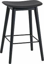 Muuto - Fiber Barhocker Wood Base H 65 cm, schwarz