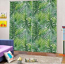 MUXIAND Green Leaf Curtains 3D Blackout Fenster