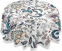 MUYIXUAN Runde Tischdecke,Vintage Blumen nahtlosen