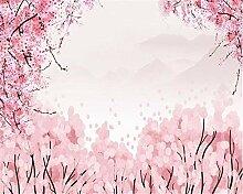 Muzemum Rote Blumenhintergrundwand TV Hintergrund