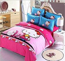 muzi928 Luxury 3D Bedding Cotton Hello Kitty 4pc